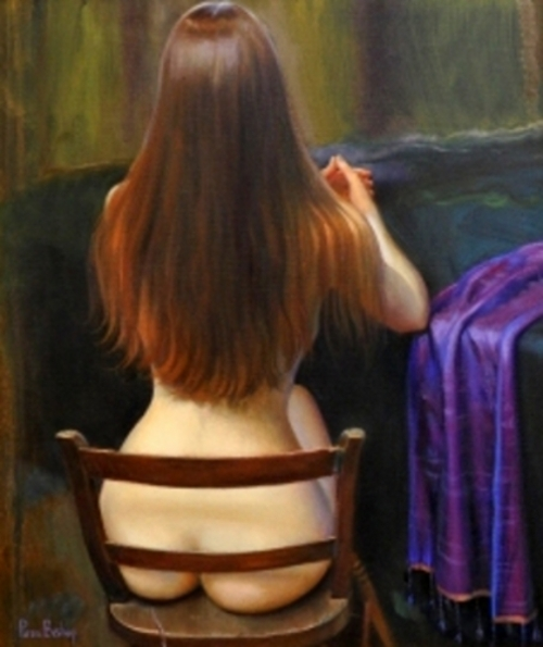 Rear View Of Nude Woman On Wooden Chair