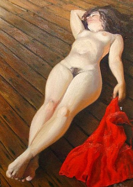 Reclining Nude With Red Dress