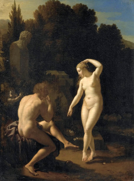 A Nymph Dancing Before A Shepherd Playing A Flute
