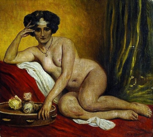 Nude On The Sofa With Tambourine