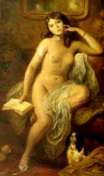 Nude With Dog And Book