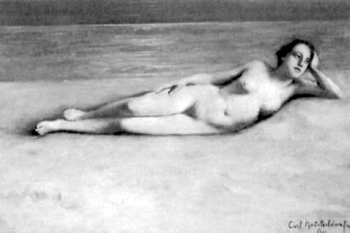 Reclining Nude On A Sandy Beach