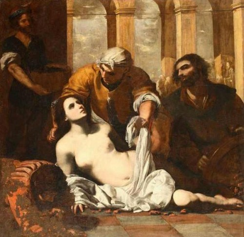 Agatha pressing a cloth against her wounds after being placed on a bed of embers (Museo di San Martino, Naples, Italy)