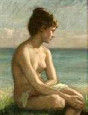 Costal Scenery With A Young Naked Woman