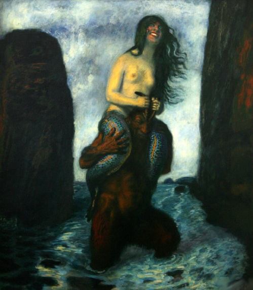 Faun Carrying A Mermaid Through The Water