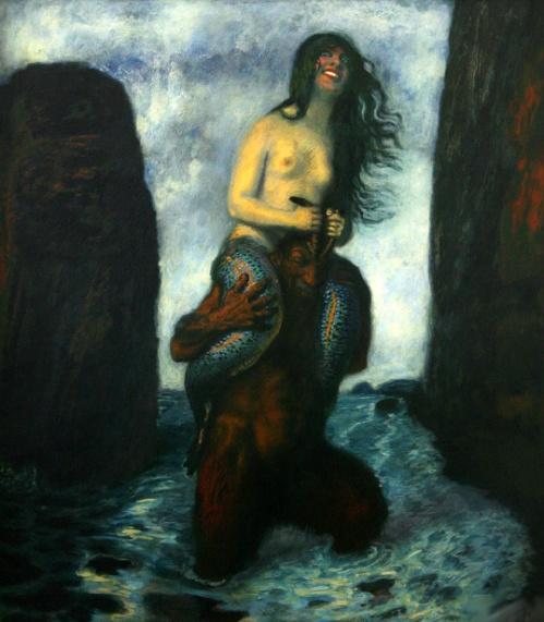Faun Carrying A Mermaid Through The Water