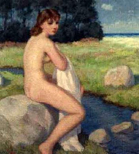 Female Nude Seated By Brook