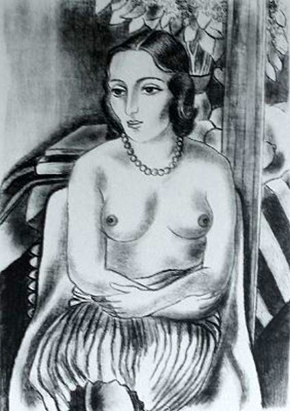 Nude With Beads, Seated
