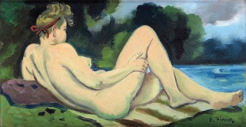 Reclining Female Nude By A Lake - Woodstock