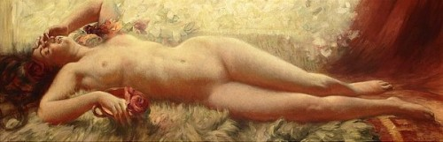 A Reclining Nude With Roses And Grapes