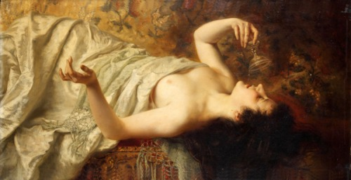 Female Semi-Nude Reclining With Goblet In Her Right Hand