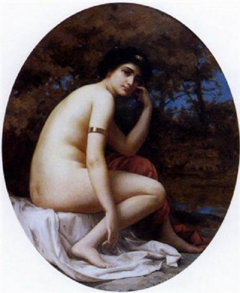 Femme nue pensive près de la rivière