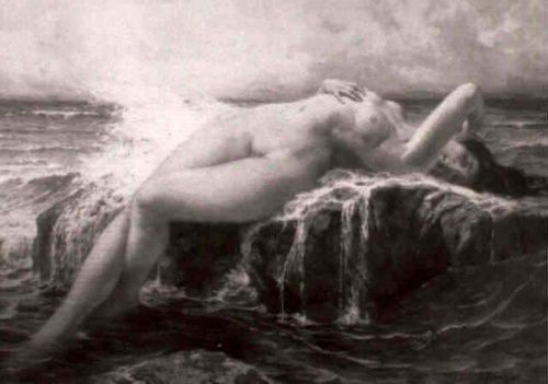 Reclining female Nude On A Cliff