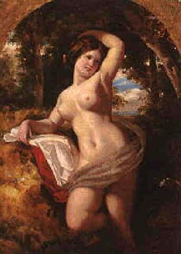 A Nude Posing In A Wooded Landscape