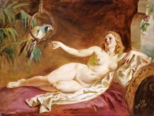 Female Nude With Parrot