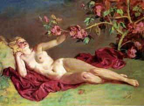 Reclining Female Nude By Rosebush