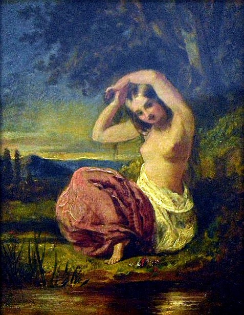 Semi Naked Young Girl Seated Beneath A Tree