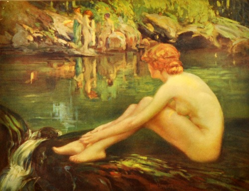 Four Nude Nymphs By Water