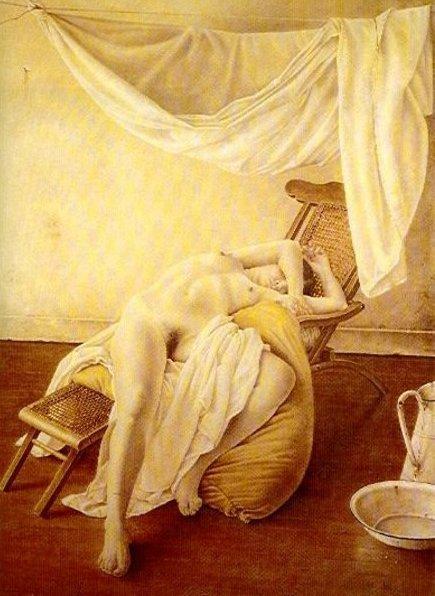 Desnudo acostado despues del  baño