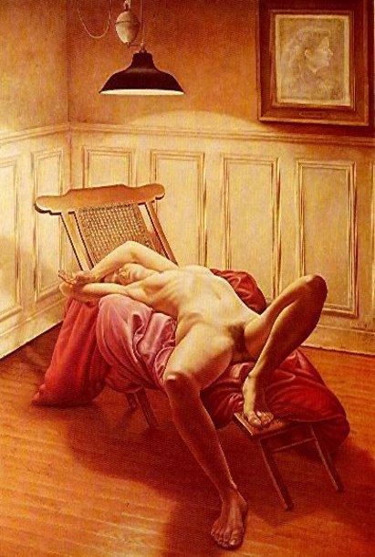 Desnudo en un cuarto con lampara