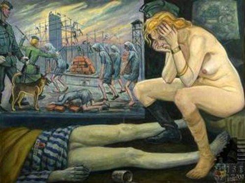 La Kapo Nue - Gardienne SS face au cadavre de son amant detenu qu'elle vient de tuer