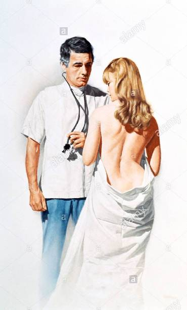 Doctor And Young Woman Wrapped In Sheet