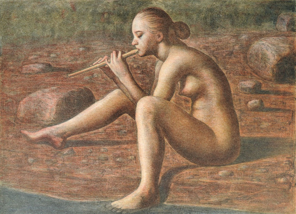 Nude woman and flute-5942