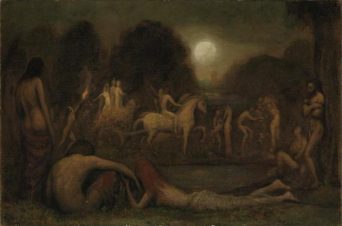 Mythological Scene With Figures And Horses By A Pool In The Moonlight