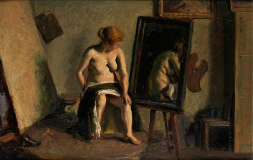 Atelier Scene With Nude Woman At The Mirror