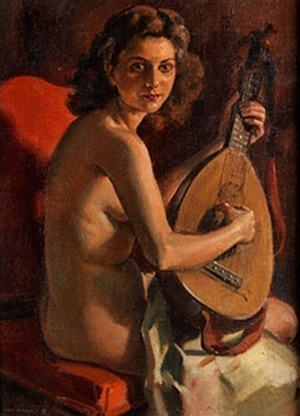 Nude Woman With Mandolin