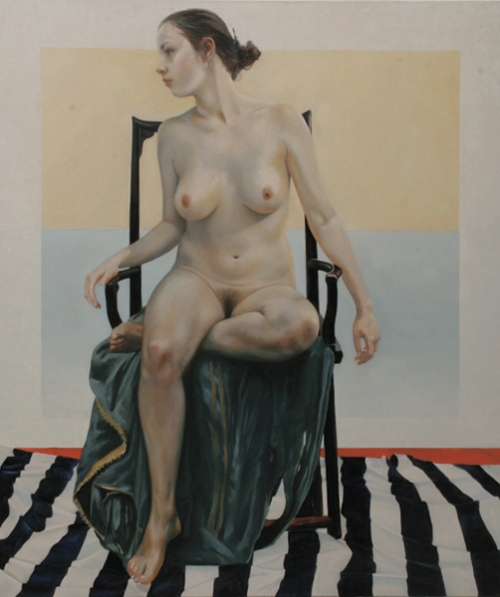 Sitter With Black And White Cloth