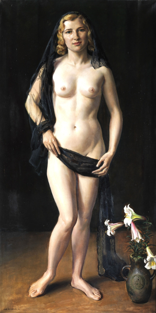 Standing Nude With Black Veil And Lily