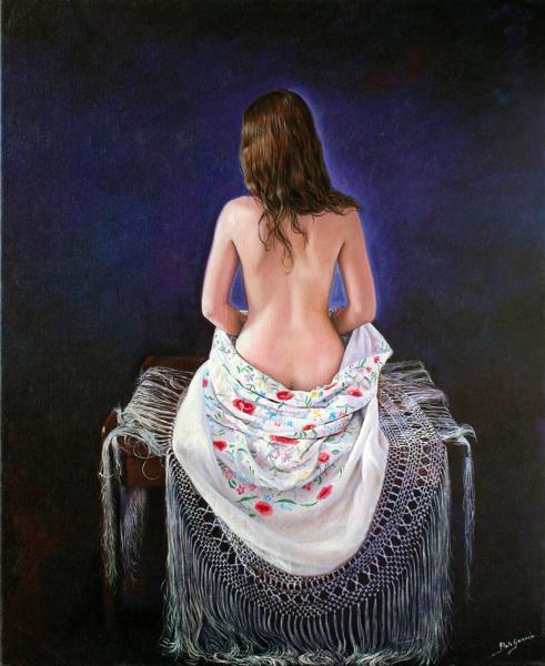 Desnudo de espalda con manton de manila