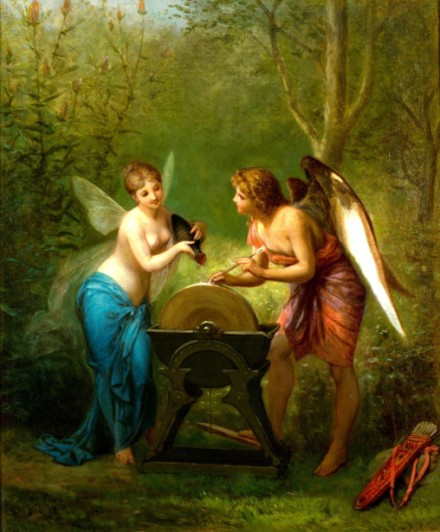 A Cupid And A Fairy Sharpening The Arrows