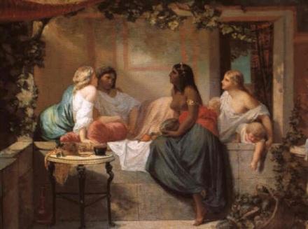 Conversation sous la treille - Scène de délassement et pastèques