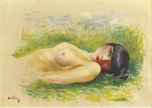 Nu allongé sur l'herbe