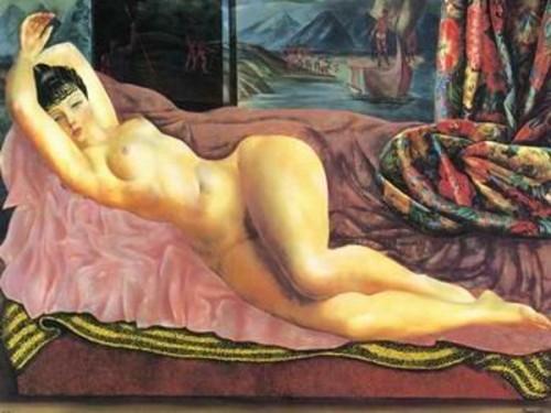 Nude Lady Lying On Sofa
