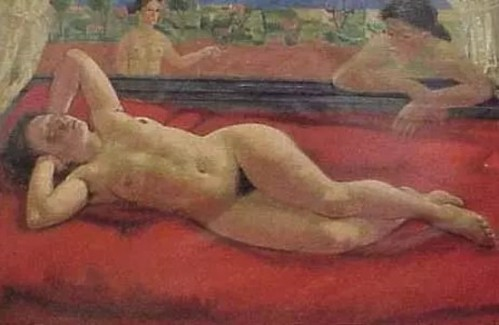 Reclining Nude On Red