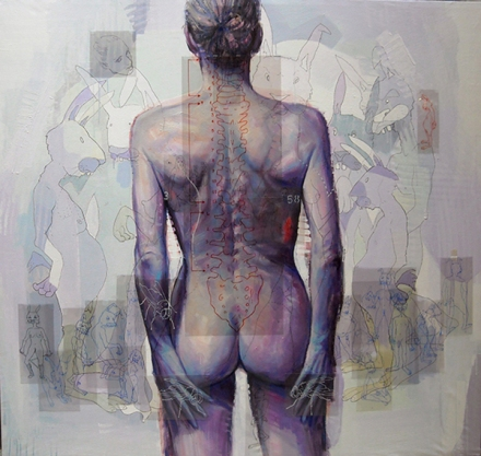 Anonimo, nudo, sesso femminile, di spalle