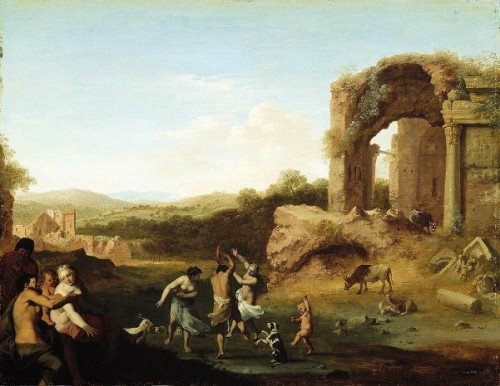 Figures Dancing Near A Ruin
