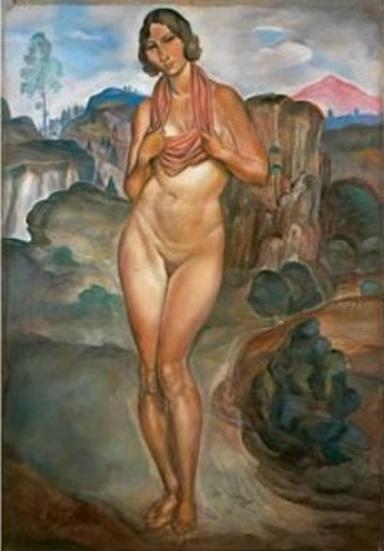Femme nue devant un paysage