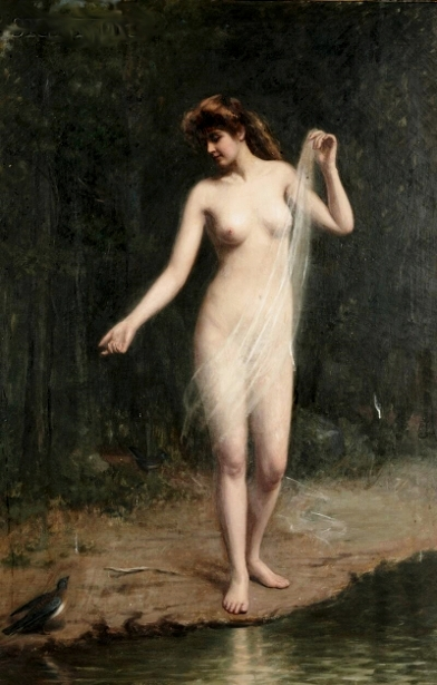 Standing Nude With A Blue Bird - Nymph By A Stream