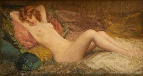 Jeune femme nue alanguie