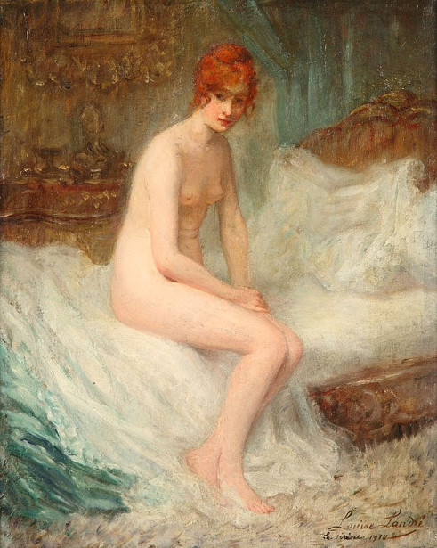 Naked Woman Sitting On Bed